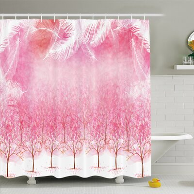 Hazy Japanese Cherry Blossom Trees Shower Curtain Set Size: 84 H x 69 W