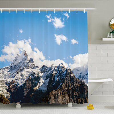 Lake Snowy Mountain Scenery in Summer Cloudy Sky Natural Beauty Shower Curtain Set Size: 75 H x 69 W