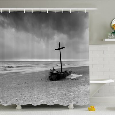 Ocean Wreck Small Stranded Boat on Seaside Snow Clouds Windy Day Wave Picture Shower Curtain Set Size: 75