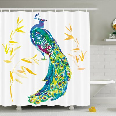 Feather House Digital Watercolor Peacock Large Tail with Eyespots Image Shower Curtain Set Size: 75 H x 69 W
