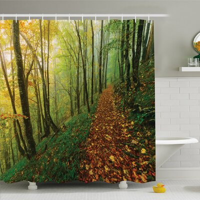 National Parks Home Surreal Foggy Deep in Forest Eco Path Full of Leaves Landscape Shower Curtain Set Size: 84 H x 69 W