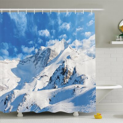 Lake Mountain Landscape Ski Slope Winter Sport Telfer and Snowboarding Image Shower Curtain Set Size: 70 H x 69 W