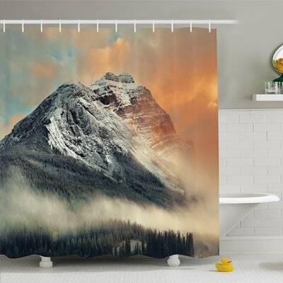 National Parks Home Snowy Mountain at Sunset Hazy Weather Magical Yoho Alberta Shower Curtain Set Size: 84 H x 69 W