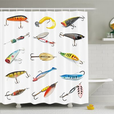 Several Fish Hook Equipment Objects Trolling Angling Netting Gathering Activity Shower Curtain Set Size: 70 H x 69 W