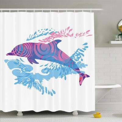 Sea Animals Dolphin Figure with Colorful Patterns Underwater Life Shower Curtain Set Size: 75 H x 69 W