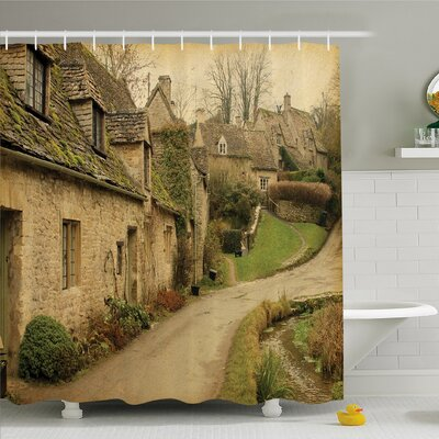 Nash, British Town with Stone Houses Retro England Countryside Buildings Image Shower Curtain Set Size: 84 H x 69 W