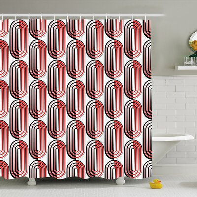 Modern Art Home Ellipse Curves Surrounded by Focal Points Mathematical Modern Motif Shower Curtain Set Size: 75 H x 69 W