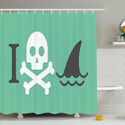 Sea Animal Love Creepy Dead Skull Head with Cross Bones and Fun Danger Icon �Shower Curtain Set Size: 70 H x 69 W