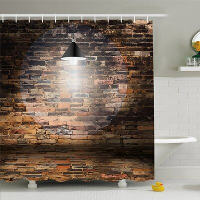 Rustic Home Dark Cracked Bricks Ceiling Lamp Spot Light Building Image Shower Curtain Set Size: 70 H x 69 W
