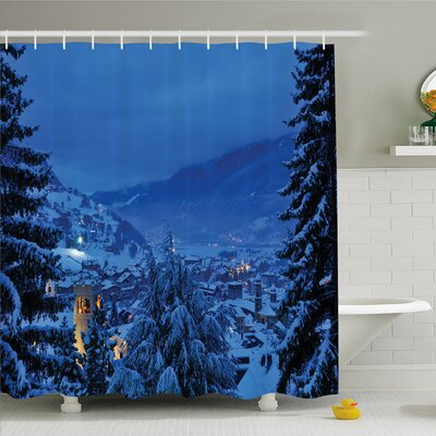 Nash, Winter Pine Trees Forest in European Woodland by the Mountains Nature Print Shower Curtain Set Size: 70 H x 69 W