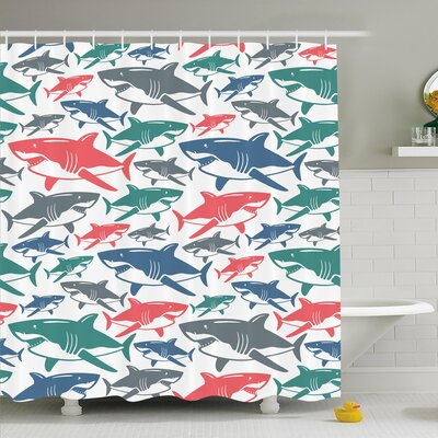 Sea Animal Mix of Colorful Bull Shark Family Masters of Survival Kids Nursery Shower Curtain Set Size: 70 H x 69 W