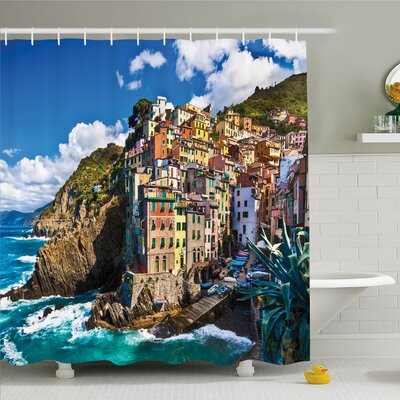 Nash, Italian Mediterranean House by Cliffs Dramatic Weather Sea Cinque Terre Print Shower Curtain Set Size: 75 H x 69 W