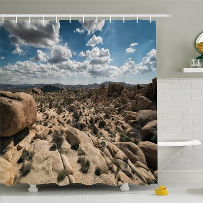 National Parks Home Stone Cliffs under Sun Lights Panorama Art Adventure Climate �Shower Curtain Set Size: 84 H x 69 W