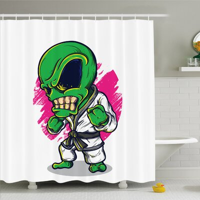 Outer Space Alien Warrior Practicing Chinese Martial Art Karate Sports Children Decor Shower Curtain Set Size: 84 H x 69 W