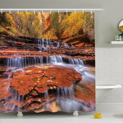 National Parks Home Wide Angle Shot of the Waterfalls Stream West Canyon Falls in Autumn Shower Curtain Set Size: 75 H x 69 W
