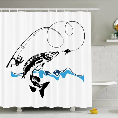 Pike Fish Catching Wobblers Reel Trap in River Raptorial Predator Print Shower Curtain Set Size: 84 H x 69 W