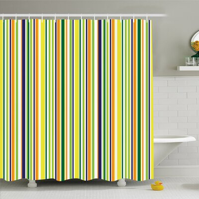 Striped Vibrant Lines Textured Trendy Inspirational Uniform Vein Rod Forms Image Shower Curtain Set Size: 84 H x 69 W