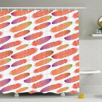 Feather House Fluffy Down Sign of Angels Ethnic Boho Shower Curtain Set Size: 70 H x 69 W