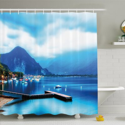 Scenery House Italian Village with Harbor and Sail Boats Magical Countryside Rural Photo Shower Curtain Set Size: 75