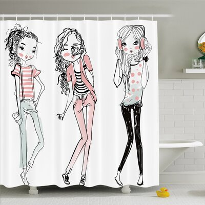 Fashion House Sketch of Cute Cartoon Elegant Girls with Makeup Clothes Image Shower Curtain Set Size: 84 H x 69 W