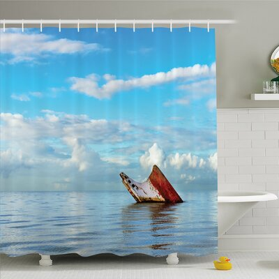 Ocean Sunken Ship on Surface of Freshening Sea View with Cloudy Weather Nobody Print Shower Curtain Set Size: 70