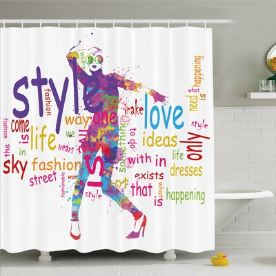 Fashion House Stylish Woman Figure with Colorful Stains Love Dresses Happiness Shower Curtain Set Size: 70 H x 69 W