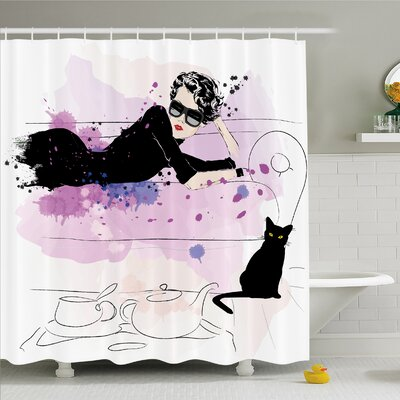 Fashion House Girl with Sunglasses Lying on Couch Cat Elegance in Home Theme with Stains Shower Curtain Set Size: 84 H x 69 W