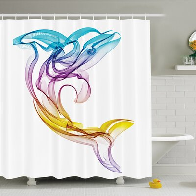 Sea Animals Dolphin Figure with Ornamentals Abstract Art Aquatic Animal Illustration Image Shower Curtain Set Size: 75 H x 69 W