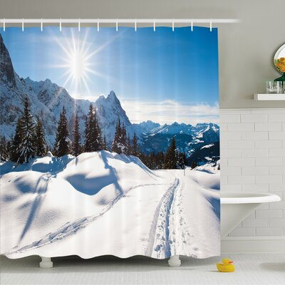 Winter Panoramic Winter Scenery on Mountain with Sunny Weather and Trees Photo Shower Curtain Set Size: 70 H x 69 W