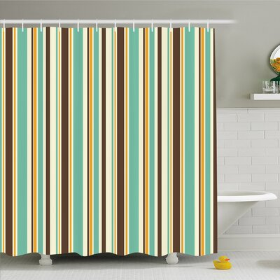 Striped Funk Art Nostalgic Lash Strokes with Earthen Tones Blow Fashion Graphic Shower Curtain Set Size: 75 H x 69 W