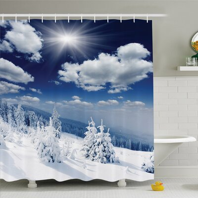 Winter Landscape on Hills with Snowy Trees and Fluffy Clouds Art Image Shower Curtain Set Size: 75 H x 69 W