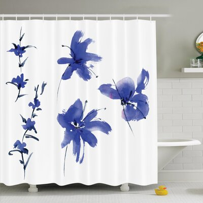 Traditional House Oriental Ancient Watercolor Inspired Plum Blossom Petals Eastern Artwork Shower Curtain Set Size: 84 H x 69 W
