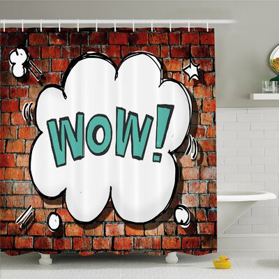 Rustic Home Red Cracked Brick Wall British Backdrop Uk English Pop Art Cloud 90s Grunge Shower Curtain Set Size: 84 H x 69 W