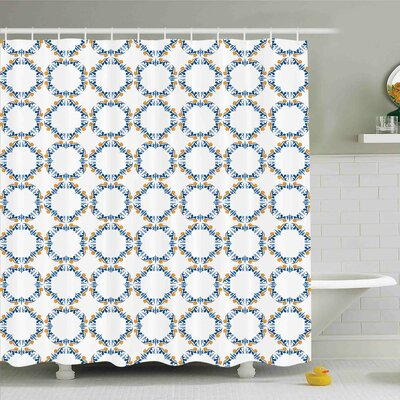 Traditional House Bound Medieval Tiles Pattern Renaissance for Interior and Exterior Shower Curtain Set Size: 75