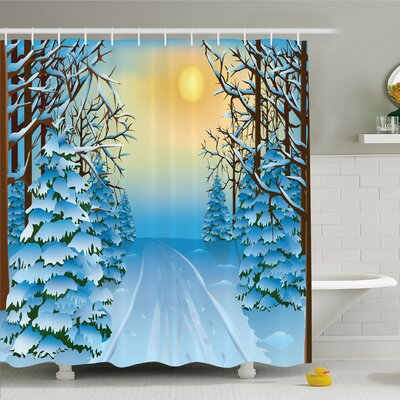Winter Forest View with Snowy Path between Trees and Sun on Sky Shower Curtain Set Size: 75 H x 69 W