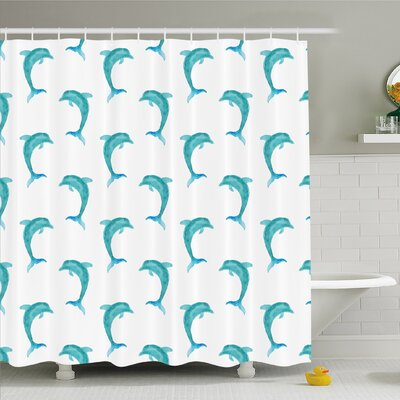 Sea Animals  Watercolor Art Dolphin Figures Ocean Playful Marine Underwater Theme Shower Curtain Set Size: 75 H x 69 W