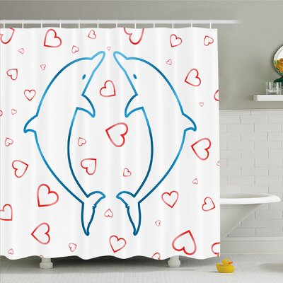 Sea Animals Dolphins with Heart Ornaments Romance Love Happiness in Ocean Shower Curtain Set Size: 75 H x 69 W