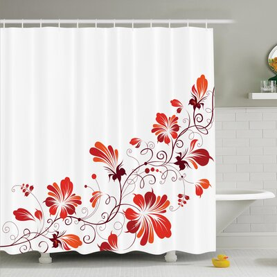 Traditional House Chinese Purity Symbol Blooms with Curved Lace Branch and Leaves Shower Curtain Set Size: 70 H x 69 W