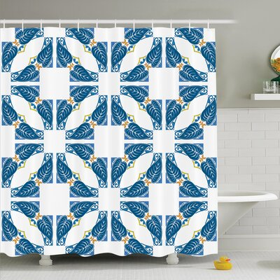 Traditional House Portuguese Pavement Azulejo Mosaic with Diagonal Square and Shapes Shower Curtain Set Size: 70 H x 69 W