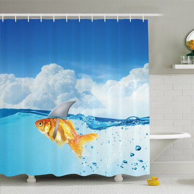Sea Animal Goldfish with Shark Fin on Top of the Water Fake Comic Nature Image Shower Curtain Set Size: 75 H x 69 W