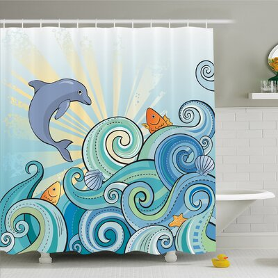 Sea Animals Cartoon Dolphin Fish Starfish Shells Lights in Ocean Marine in Summer Pattern Shower Curtain Set Size: 75 H x 69 W