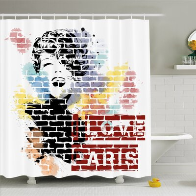 Fashion House Love Paris and Woman Figure on Wall Street Art Elegance Cool Artwork Shower Curtain Set Size: 75 H x 69 W