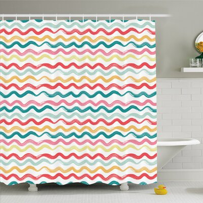 Striped Pop Art  Wavy Rough Lines Flush Brush Strokes Shaggy Groovy Boho Decor Shower Curtain Set Size: 75 H x 69 W