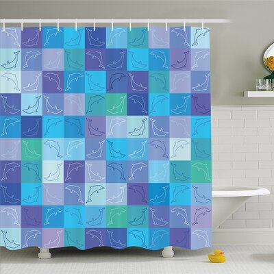 Sea Animals Playful Dolphin Figures in Mosaic of Colored Squares Underwater Life Theme Shower Curtain Set Size: 70 H x 69 W