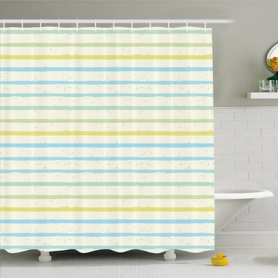 Striped Watercolor Paint Brush in Pastel Tone with Grunge Effects Nouveau Art Shower Curtain Set Size: 70 H x 69 W