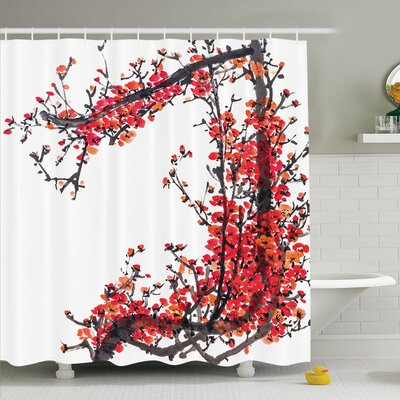 Traditional House Japanese Cherry Blossom Sakura Branch Made with Brush Artsy Image Shower Curtain Set Size: 84 H x 69 W