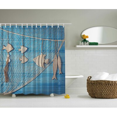 Fish Net Print Shower Curtain
