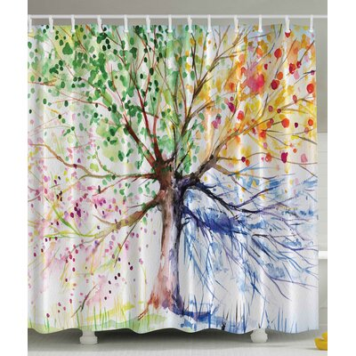 Seasons Tree Print Shower Curtain