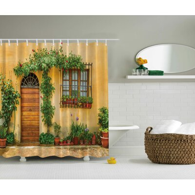 Mediterranean House Print Shower Curtain
