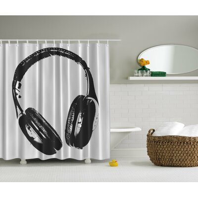 Music Headphones Print Shower Curtain